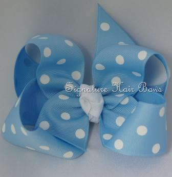 Girls Blue Polka Dot Hair Bow