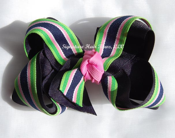 Preppy Stripes Layered Bow