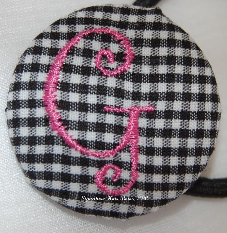 Button Ponytail - Black Gingham