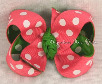 Hot Pink and Apple Double Dots Bow
