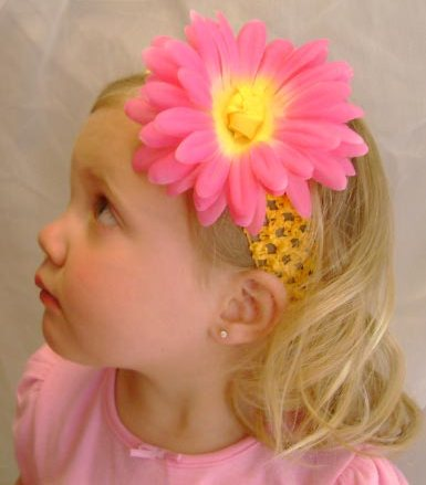flower headband on toddler