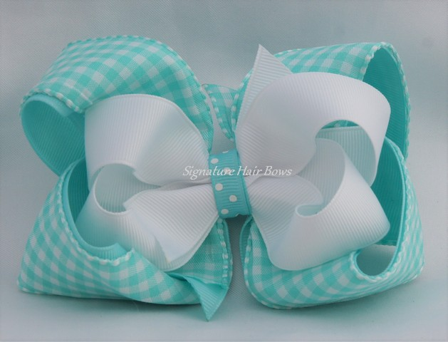 gingham hair bow