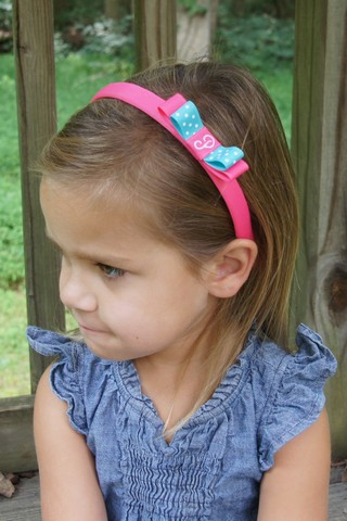 Headband with monogrammed bow