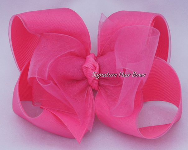 hot pink sheer hair bow