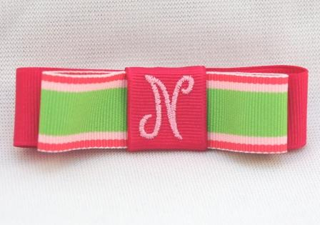 Watermelon Stripes Monogrammed Tuxedo Bow
