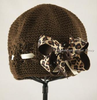 Signature Cap - Brown with Leopard Bow