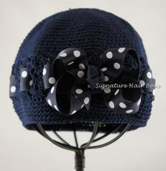 Signature Cap - Navy Polka Dots