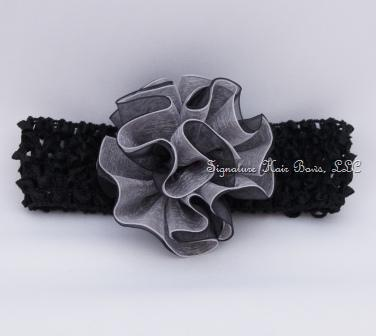 silver and black rose headband