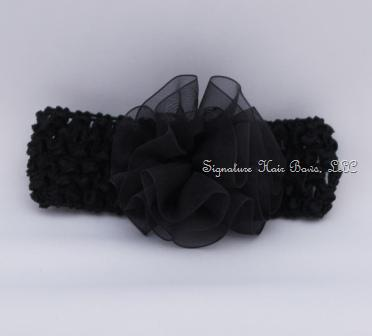 black organza flower headband