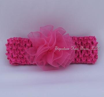Organza Rose Crochet Headband