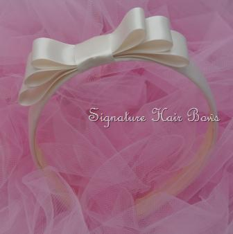 Satin Headband with Tuxedo Bow