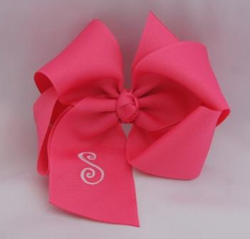 large monogrammed hair bow