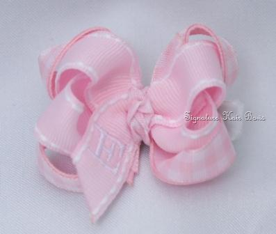 Pretty in Pink Gingham Monogrammed Baby Grippy