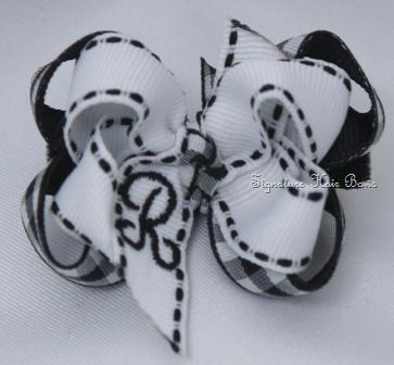 Black and White Gingham Monogrammed Baby Bow
