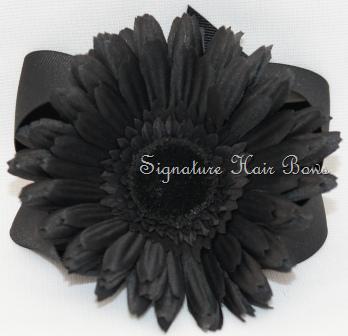 Black Flower Bow