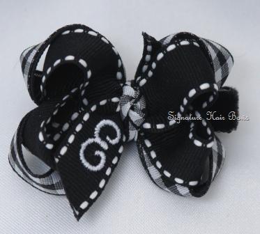 Black Gingham Monogrammed Baby Bow