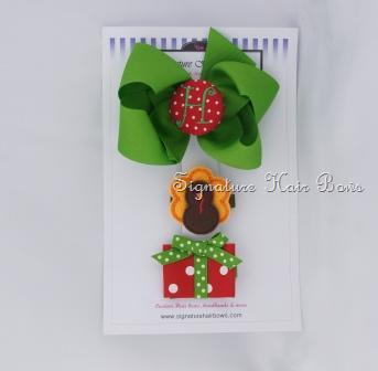 Green Turkey and Gift Hair Bow Trio