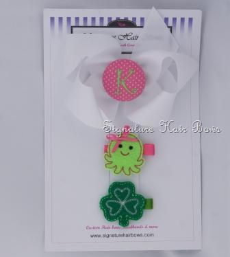 White Shamrock and Octopus Hair Bow Trio Set