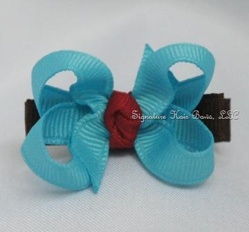 Brown and Turquoise Baby Bow