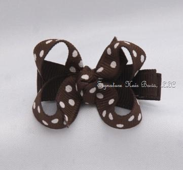 Brown Dots Baby Bow