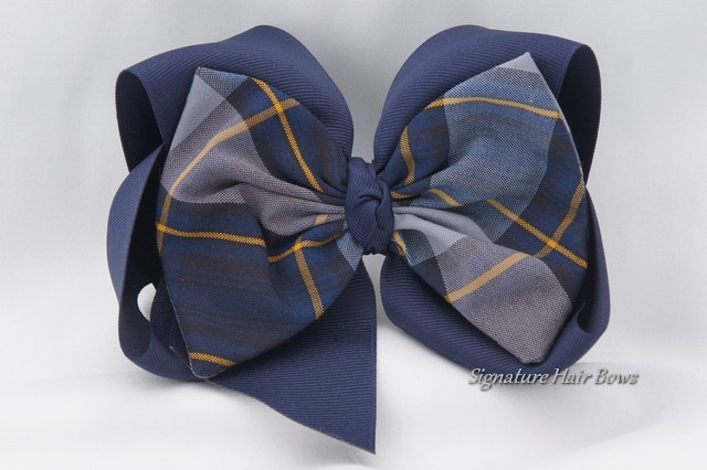 Southern Size School Uniform Hair Bow - Classic Navy Plaid