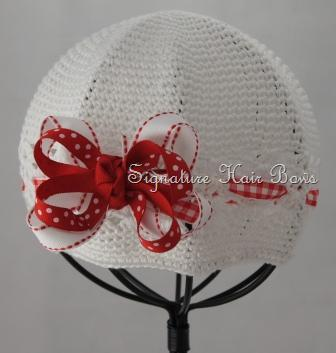 Signature Cap - White with Red Ribbons