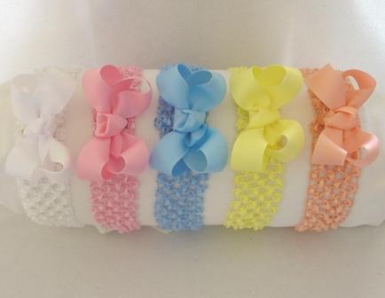 Crochet Headband with Grosgrain Bow
