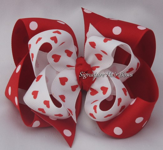 Double Layered Hearts Valentine's Bow