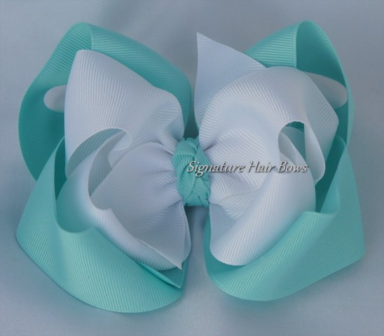Aqua and White Double Layer Hair Bow