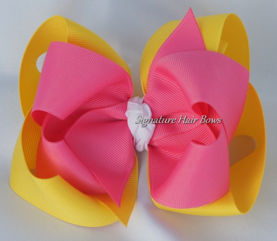 Lemon Blossom Double Layer Hair Bow