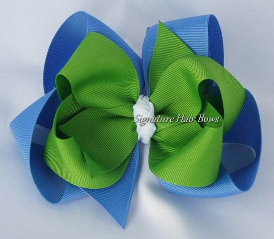 Blue and Green Double Layer Hair Bow