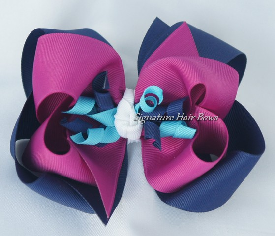 Navy and Fuschia Double Layer Hair Bow