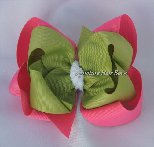 Hot Pink and Green Double Layer Hair Bow