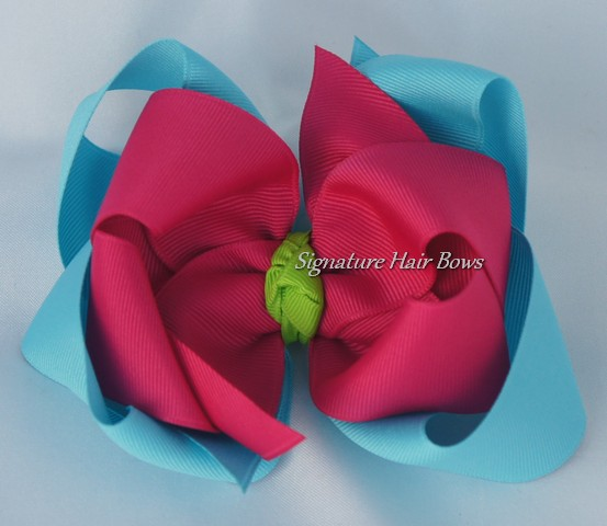 Turquoise and Pink Double Layer Hair Bow