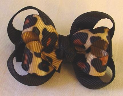Layered Leopard Grippy Baby Bow
