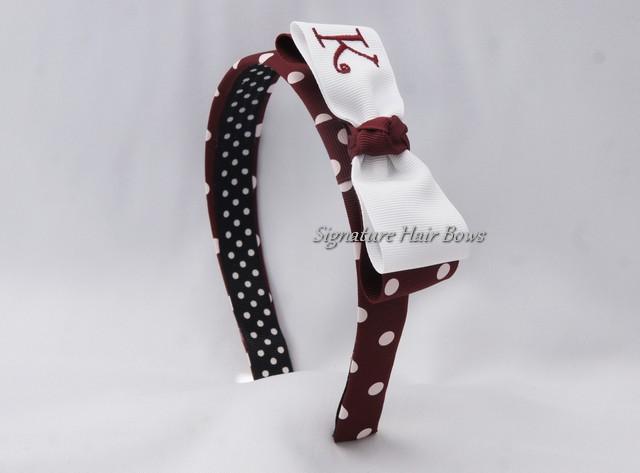 Maroon Dots Monogrammed Tuxedo Headband