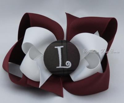 School Uniform Monogrammed Button Bow - Maroon