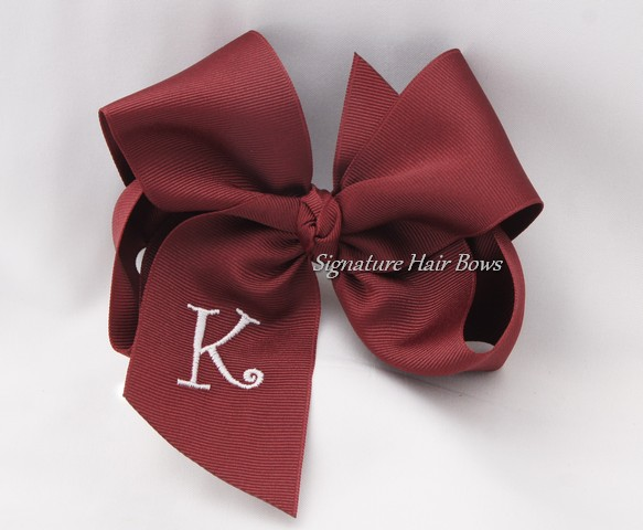 Southern Size Monogrammed School Uniform Hair Bow - Maroon
