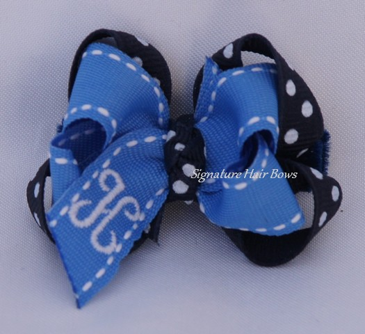 Baby Blues Monogrammed Baby Hair Bow