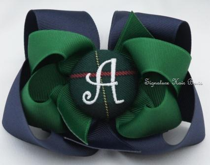 School Uniform Monogrammed Button Bow - Hunter and Classic Navy