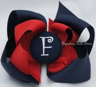 School Uniform Monogrammed Button Bow - Navy and Red