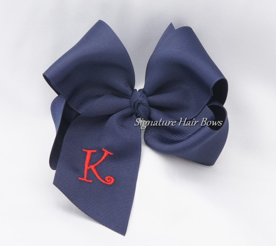 Southern Size Monogrammed School Uniform Hair Bow - Navy/Red