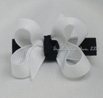 Navy and White Baby Bow