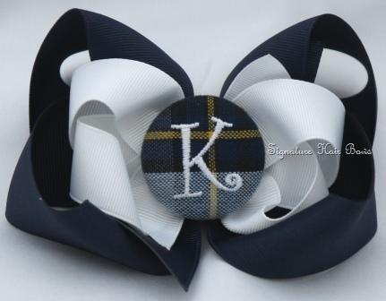 School Uniform Monogrammed Button Bow - Classic Navy Plaid