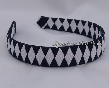 School Uniform Woven Headband - navy daiamonds
