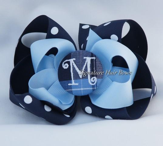 School Uniform Monogrammed Button Bow - Clear Blue Plaid Dots