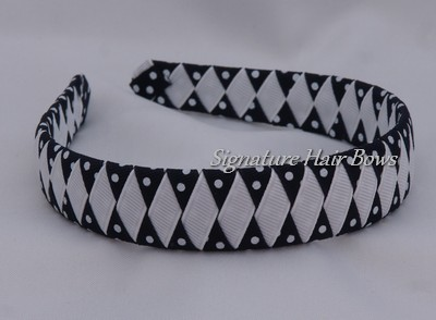 School Uniform Woven Headband - navy dots