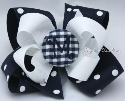 School Uniform Monogrammed Button Bow - Navy Gingham