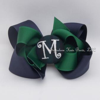 School Uniform Monogrammed Button Bow - Hunter
