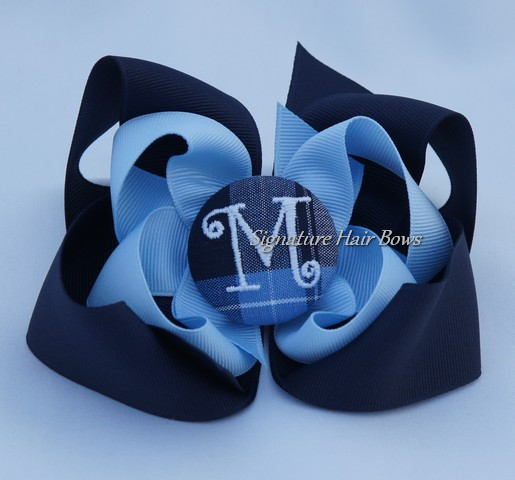 School Uniform Monogrammed Button Bow - Clear Blue Plaid